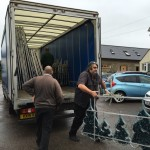 Christmas lights being unloaded from a lorry