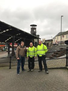 Councillor Chris Witham with Council Workmen Ryan Morgan and Scott Powell
