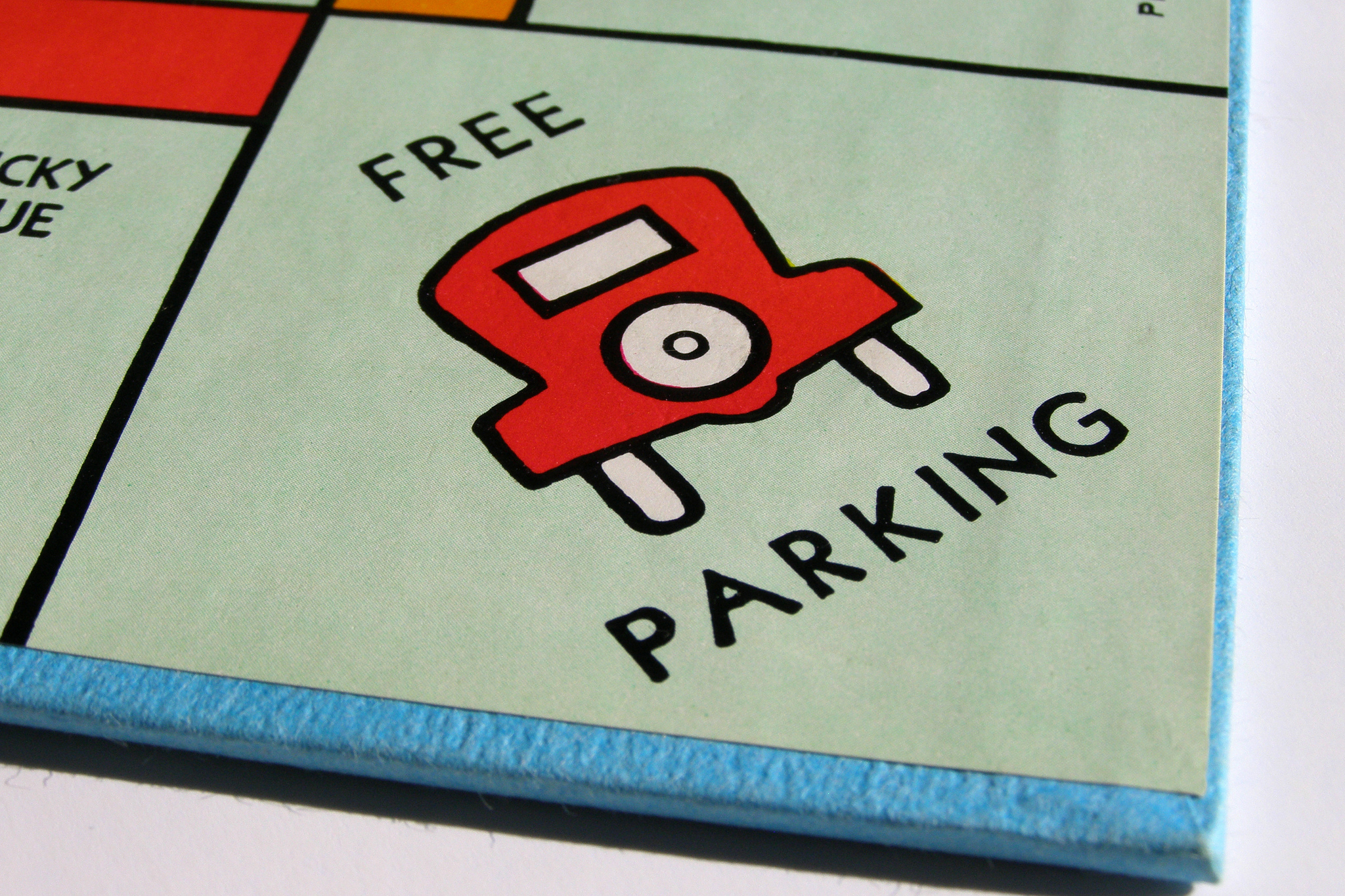 Free parking Monopoly board