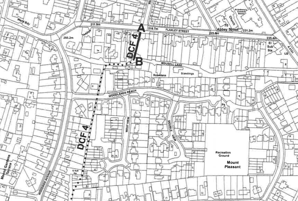 A map showing Footpath DCF/4