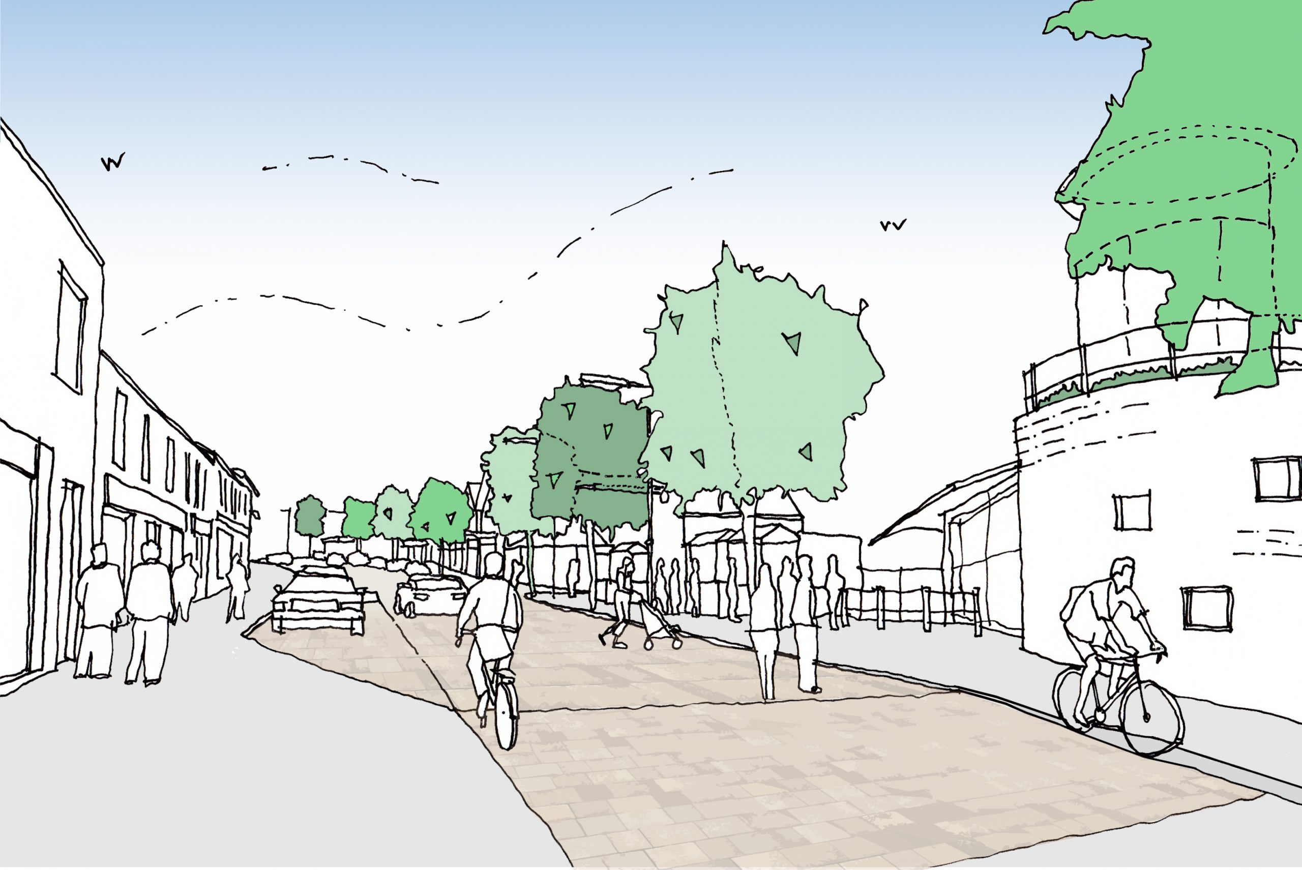 Artist interpretation of Cinderford High Street